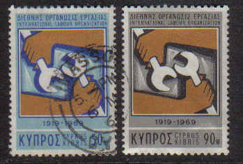 Cyprus Stamps SG 327-28 1969 I.L.O - USED (b192)
