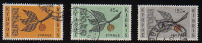 Cyprus Stamps SG 267-69 1965 Europa sprig - USED  (b048)