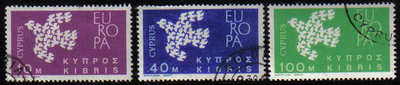 Cyprus Stamps SG 206-08 1962 Europa Doves - USED (e334)