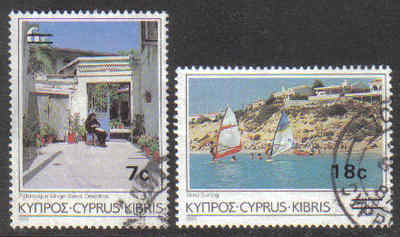 Cyprus Stamps SG 684-85 1986 Surcharge 7c 18c - USED (g331)