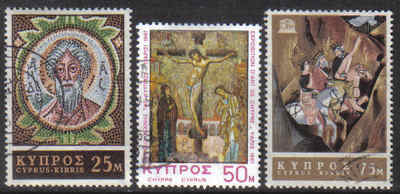 Cyprus Stamps SG 313-15 1967 Religious Art UNESCO - USED (g336)