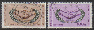 Cyprus Stamps SG 265-66 1965 International Co-operation year - USED (g343)