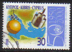 Cyprus Stamps SG 0999 2000 50th Anniversary of the World Meteorological org