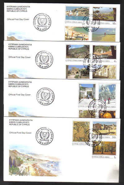 Cyprus Stamps SG 648-662 1985 on 4 Offiial FDC's