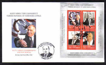 North Cyprus Stamps SG 0741 MS 2012 Founding President Rauf Denktas Souvenir Sheet - Official FDC
