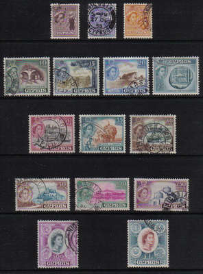 Cyprus Stamps SG 173-87 1955 Queen Elizabeth II Definitives - USED (g401)