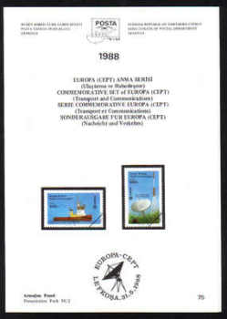 North Cyprus Stamps Leaflet 075 1988 Europa Transport and Communications