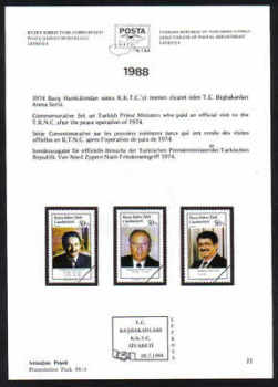 North Cyprus Stamps Leaflet 077 1988 Turkish Prime Ministers who  visited the TRNC