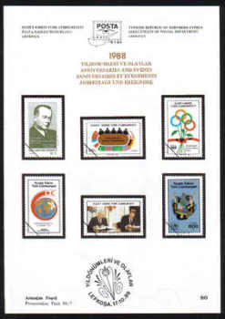 North Cyprus Stamps Leaflet 080 1988 Anniversaries and Events