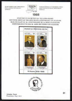 North Cyprus Stamps Leaflet 081 1988 50th Death anniversary of Ataturk