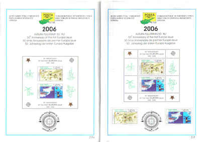North Cyprus Stamps Leaflet 215 and 215a 2006 50th Anniversary of the first