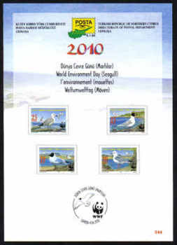 North Cyprus Stamps Leaflet 244 2010 World environment day Seagulls