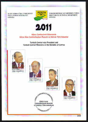 North Cyprus Stamps Leaflet 249 2011 Turkish Cypriot Vice President and Min