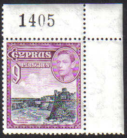 Cyprus Stamps SG 159 1938 9 Piastres Control numbers - MINT (g485)