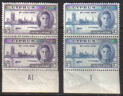 Cyprus Stamps SG 164-65 1946 Victory King George VI Pair Control numbers -