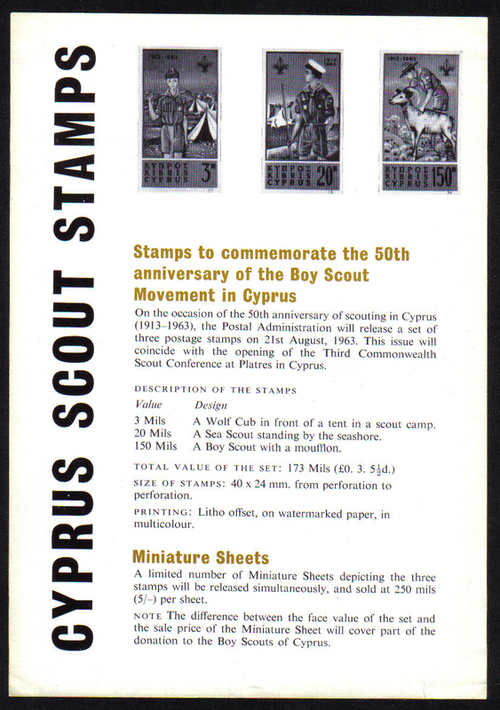 1963a Cyprus Stamps Leaflet Boy Scouts