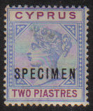 Cyprus Stamps SG 043 1896 TWO Piastre - Specimen MLH (g523)