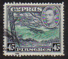 Cyprus Stamps SG 161 1938 KGVI 45 Piastres - USED (g527)