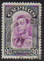 Cyprus Stamps SG 162 1938 KGVI 90 Piastres - USED (g528)