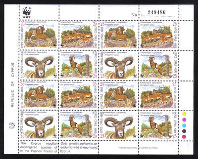 Cyprus Stamps SG 941-44 1998 WWF World Wildlife Fund Mouflon - Full Sheet M