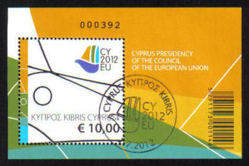 Cyprus Stamps SG 1280 MS 2012 Cyprus Presidency of the Council of the EU - Mini sheet USED (h888)
