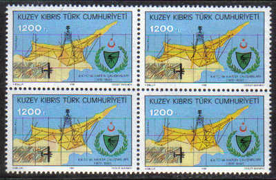North Cyprus Stamps SG 346 1992 1200TL - Block of 4 MINT