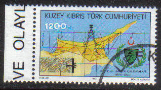 North Cyprus Stamps SG 346 1992 1200TL - CTO USED (g619)