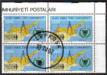 North Cyprus Stamps SG 346 1992 1200TL - Block of 4 CTO USED (g613)