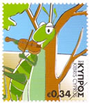 Cyprus stamps The Cricket Singing (self-adhesive) October 2012 issue