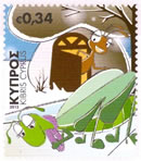 Cyprus stamps The Cricket Asks for Food from the Ant (self-adhesive) Octob