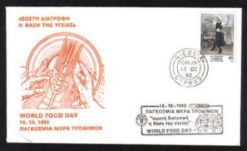 Cyprus Stamps 1992 Cover World food day - Cachet Slogan (g625)