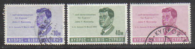 Cyprus Stamps SG 256-58 1965 J F Kennedy - USED (g672)