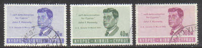 Cyprus Stamps SG 256-58 1965 J F Kennedy - USED (g674)