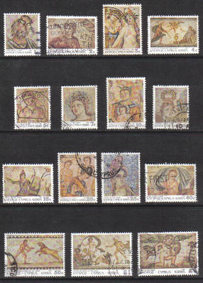 Cyprus Stamps SG 756-70 1989 7th Definitives Mosaics - USED (g675)