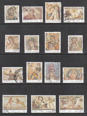 Cyprus Stamps SG 756-70 1989 7th Definitives Mosaics - USED (g676)