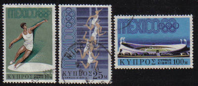 Cyprus Stamps SG 324-26 1968 Mexico Olympic games - USED (e256)