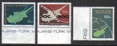 North Cyprus Stamps SG 020-22 1975 Peace in Cyprus - MINT (g683)