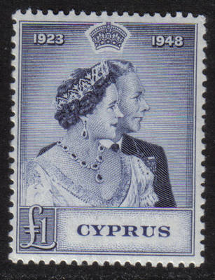 Cyprus Stamps SG 167 1948 KGVI Royal Silver Wedding One Pound - MLH (g741)