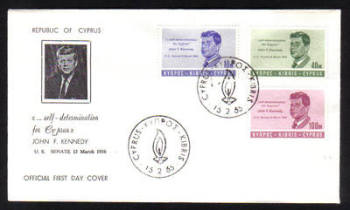 Cyprus Stamps SG 256-58 1965 J F Kennedy - Official FDC (g804)