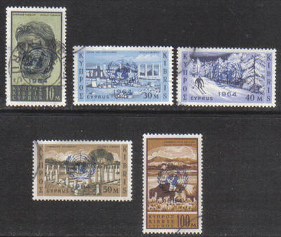 Cyprus Stamps SG 237-41 1964 United Nations Resolution Overprint - USED (g7