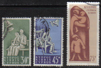 Cyprus Stamps SG 259-61 1965 Social Insurance Law - USED (g747)