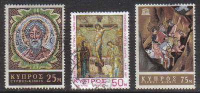 Cyprus Stamps SG 313-15 1967 Religious Art UNESCO - USED (g755)
