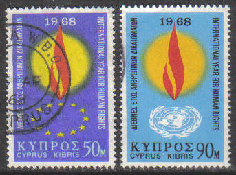 Cyprus Stamps SG 316-17 1968 Human Rights year - USED (g757)