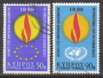 Cyprus Stamps SG 316-17 1968 Human Rights year - USED (g758)