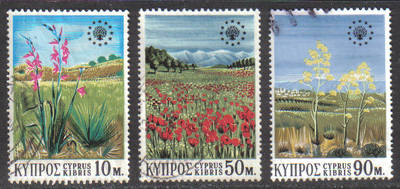 Cyprus Stamps SG 348-50 1970 Conservation year Flowers - USED (g760)