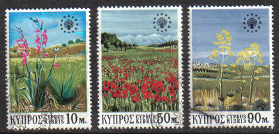 Cyprus Stamps SG 348-50 1970 Conservation year Flowers - USED (g761)