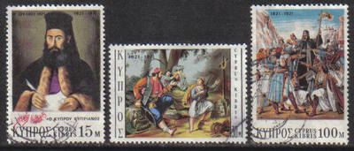 Cyprus Stamps SG 375-77 1971 Greek War of Independence - USED (g763)