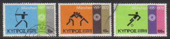 Cyprus Stamps SG 390-92 1972 Munich Olympic Games - USED (g764)