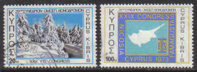 Cyprus Stamps SG 401-02 1973 29th International Ski Federation Congress - U