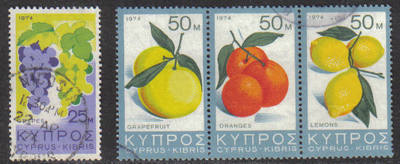 Cyprus Stamps SG 419-22 1974 Fruit - USED (g770)
